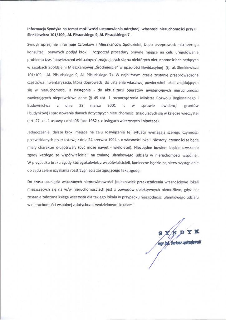 Informacja Syndyka dot. możliwości ustanowienia odrębnej własności